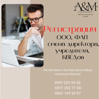 Регистрация ООО, ФЛП, смена директора, учредителя, КВЕДов